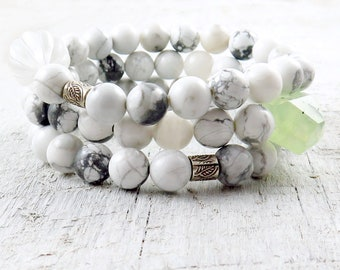 White Howlite Beaded Bracelet Set with Raw Green Phrenite