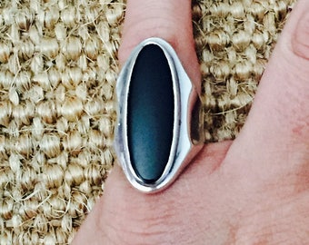 Onyx Sterling Silver Ring Sz 6.5