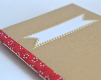 Red & White Floral Notebook, Small Handbound Softcover Journal, Brown Pocket Notebook, Elegant Quick Notes