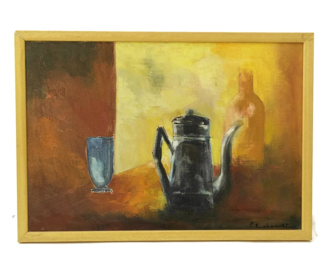 French Coffee Pot Still Life Oil Painting by Pierre Chauvet. Modern Art. Coffee Shop Art. Dining Room Decor. Vintage French Kitchen Art.