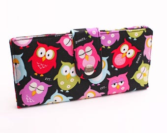 Fabric Clutch Wallet, Large Card Wallet, Women's Long Phone Wallet, Travel Clutch, Handmade Wallet - pink green owls in black