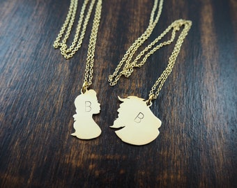 Disney initials Personalized Necklace Beauty and The beast pendant  , handmade by hand sawing ,disney jewelry