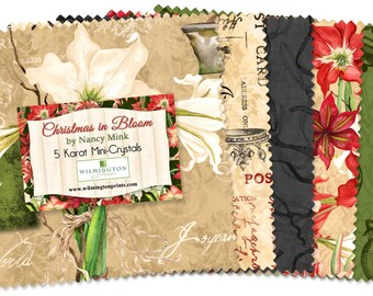 Christmas Fabric -  Christmas in Bloom Charm Pack by Nancy Mink for Wilmington Prints 415 503 - Mini Karat (24) 5-Inch Squares
