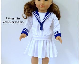 "1841, Vintage Sailor Suit, Deep V, Pleated Skirt, Valspierssews 18"" doll clothes Pattern, Fits popular 18"" Dolls, PDF Download"