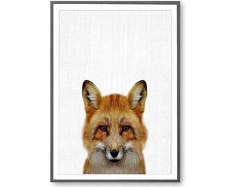 Fox Print, Large Printable Poser, Fox Artwork, Fox Poster, Fox Wall Art,  Instant Fox Art, Printable Fox, Printable Fox Poster, Modern Art