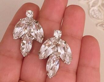 Vintage Style crystal Earrings, Clear swarovski Clip On earrings, Wedding stud swarovski earrings, bridesmaid earrings