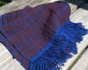 Blue and Red Handwoven Scarf