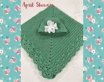 April Showers Baby Blanket & Hat Set