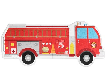 """Fire Truck Floor Puzzle 3-foot x 18"""" Jumbo Jigsaw, 24 Giant Pieces! Crayon Textured Fire Engine Illustration"""