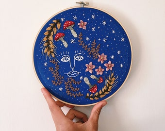 Celestial face, mushroom, sparkly vines, wheat, and floral 8 inch embroidery hoop