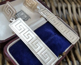 Vintage Sterling Silver Earrings, Large Greek Key Dangle, Statement Earrings