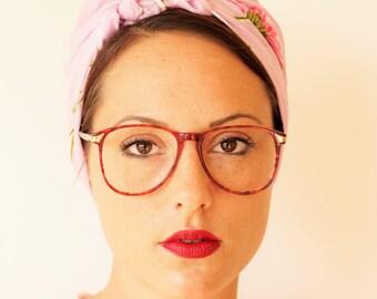 Vintage Eyeglass 1970's Retro Frames Red Tortoiseshell By Aspen Eyewear Made In Hong Kong New Old Stock Glasses