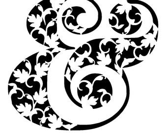 "6/6 "" vintage ampersand symbol stencil"