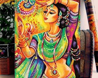 Beautiful Indian Woman Painting Goddess Woman Bollywood Dancer, Eastern Woman Dancing Girl, wall decor woman art, ACEO wood block, ABDG