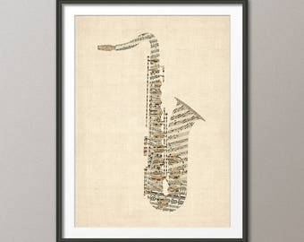 Saxophone Old Sheet Music Collage, Sax Musical Instrument Poster, Art Print (2801)