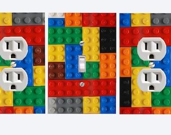 Elegant Lego  Lightswitch Cover U0026 Outlet Set  Lego Blocks Room Decor