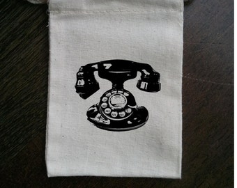 Telephone Muslin Party Favor Bag