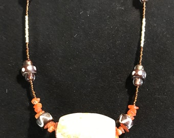 Tribal Carved Jasper Wood, Bone And Carnelian Necklace