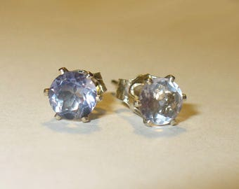 Color-Change Fluorite Stud Earrings - Genuine, Natural Mined From Earth Gemstones in Solid Sterling Silver Studs