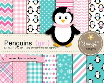 Penguin Girl Digital Paper and Clipart, Winter Snow Penguins for Baby Shower, Birthday  and Scrapbooking Paper Party Theme,
