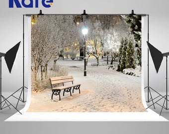 Winter Night Snow Town Park Trees Photography Backdrops Street Light and a Bench Photo Backgrounds for Beautiful Landscape Studio Props
