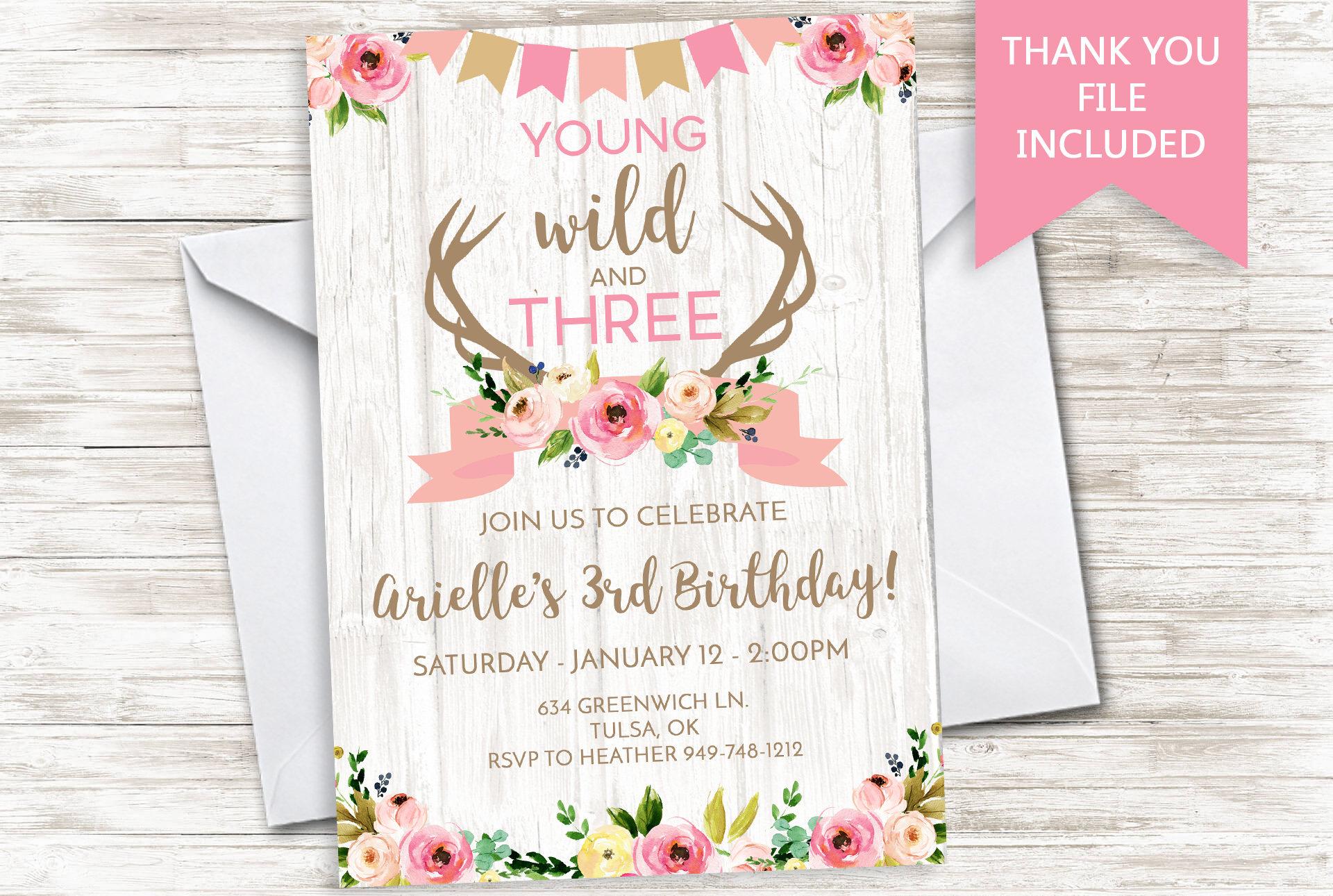 Young Wild Three Invitation Invite Birthday Digital 5x7 Boho