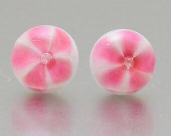 Stud earrings - Pink flower - lampwork glass - sterling silver