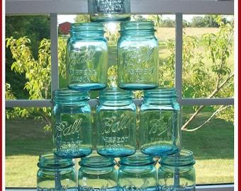 10 GENUINE Vintage Blue Ball Mason Jars PINT size