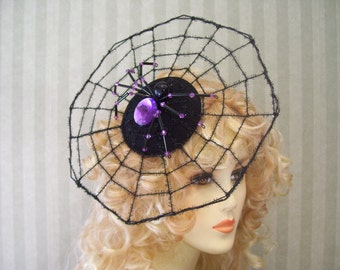 Halloween Spider Web Fasciantor With Black beaded Spider Spiderweb Halloween Hat