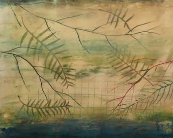 """Encaustic Art 24""""x24"""" Teal Green Blue Purple Cream Wax Painting with Leaf collage on 1.5"""" wood """"floaring"""" panel"""