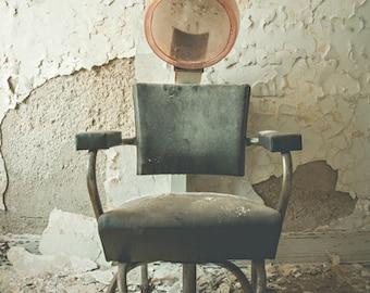 Abandoned Building Photography, 5x7 Print, Hair Salon Art, Abandoned Hair Salon, Hairdresser, Pastel Decor, Detroit Art, Urban Exploration