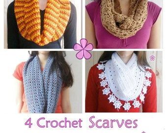 1 pattern FREE. 4 Crochet Circle Scarves Patterns. 2 lacy infinity scarves + Cowl with Snowflakes + Mini chevron ombré circle scarf _ PCS1