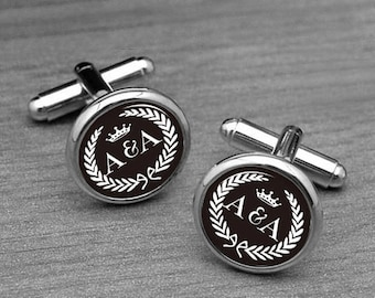 Custom Wedding initials Cuff links, Groom Cufflinks, Tie Clips, Crown Cufflinks, Fiacee's Gifts, Wedding cufflinks, Men's cufflinks, tie pin