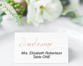 Place Cards Printable, Rose Gold Place Cards for Wedding, Welcome, Reception, Place Card Template, PDF Instant Download 110RG