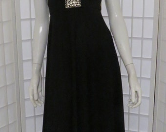 Vintage Black Poly Jersey Halter Maxi Dress w/ Silver Tone Buckle / 4