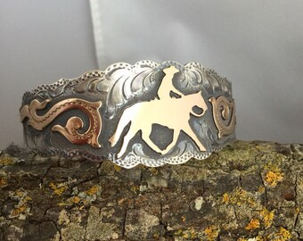 Ranch Horse Cuff Bracelet / Artisan Handmade and Hand Engraved / Sterling Silver and 1/20 12 kt gold overlay