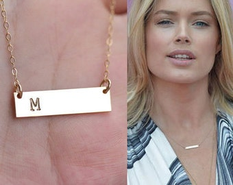 Personalized  Bar necklace,silver,gold,rose gold,Monogram name bar Necklace,hand stamped,custom font,Bridesmaid gift,Initial Rectangle charm