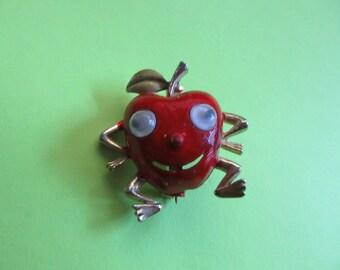Anthropomorphic Brooch Pin Red Apple Google Eyes Googly Figural Vintage Costume Jewelry Teacher Gift Fruit MoonlightMartini