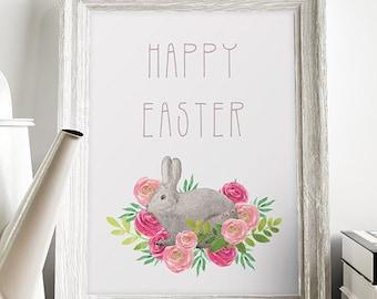 Easter Printable, Happy Easter Print, Easter Art, Easter Printable Wall Art, 5 x 7, 8 x 10, Bunny Art Easter, Spring Art, Spring Wall Art.