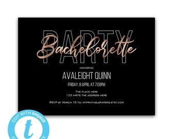 Bachelorette party invitation, bachelorette party invites, girls night out, bachelorette party templates, rosegold, printable, bachelorette