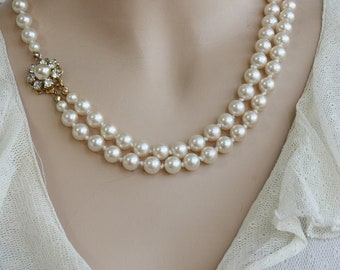 Pearl Bridal Necklace, Vintage Necklace,Victorian Bridal Jewelry, Wedding Necklace,Swarovski Crystals Necklace ,Ivory Pearls, Gold Necklace,