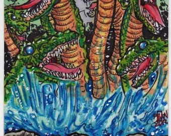 Orochi Personal Sketch Card Unique Gift Item Collectors Item Giant Monsters Kaiju