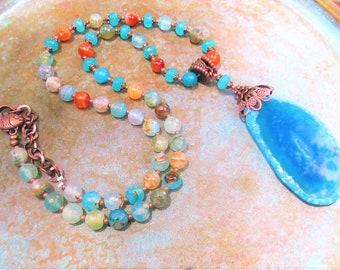 Fire Agate necklace, southwest Aqua necklace, boho rustic necklace, Teal Agate necklace, sea green Jade necklace, earthy rustic necklace