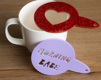 Personalised Coffee Duster - Custom Made Stencil - Sprinkle a Name or Shape on your Coffee or Cake