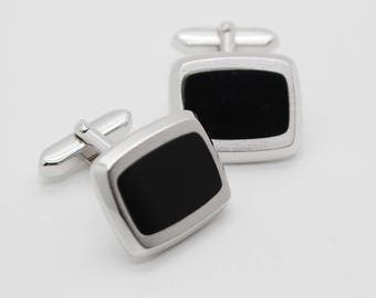 Curved Rectangle Cuff Links Silver Plated Metal with Black Plastic Centre Inserts Cufflinks