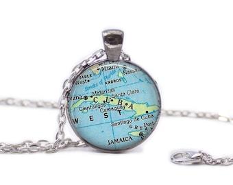 Map of Cuba Necklace Map Jewelry Travel Necklace Cuba Jewelry Wedding Jewelry