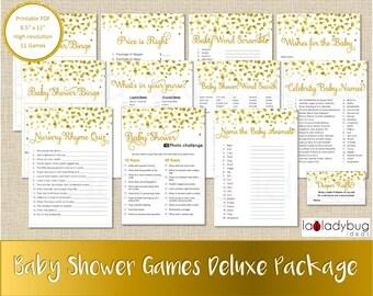 Baby shower games set. Golden and white. Bingo, photo challenge, baby celebrities names, name the baby animals, diaper raffle, word scramble