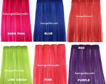 """14"""" Multi Color Clip-in 100% Human Hair Extensions 4pcs for highligts streaks USA"""