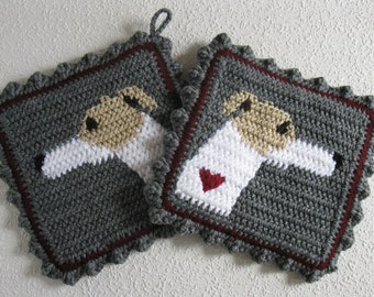 Greyhound Pot Holders. Crochet potholders with white and fawn greyhound dogs and small claret red hearts. Italian greyhound gift. Whippet