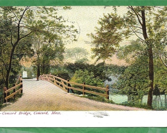 Vintage 1907 Postcard  - Concord Bridge or Old North Bridge in Concord, Massachusetts  (2859)